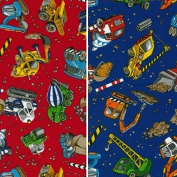 Construction Site Diggers Trucks 100% Cotton Patchwork Fabric (Nutex)