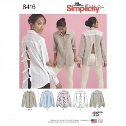 Misses Statement Button Front Shirts and Blouses Simplicity Sewing Pattern 8416