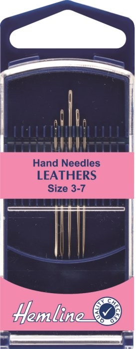 Hemline Premium Leather Hand Sewing Needles Size 3-7