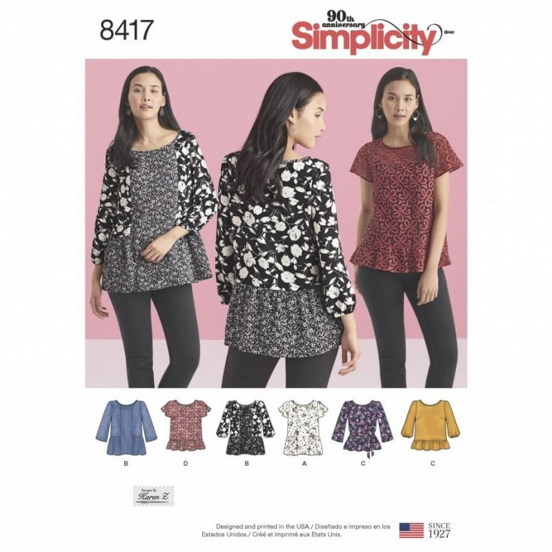 Misses Peplum Ruffle Pullover Blouses Shirts Simplicity Sewing Pattern 8417