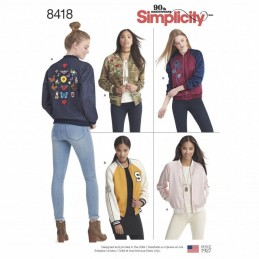 Simplicity Sewing Pattern 8418 Misses Lined Bomber Varsity Jacket Various Styles