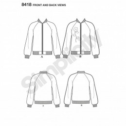 Misses Lined Bomber Varsity Jacket Various Styles Simplicity Sewing Pattern 8418