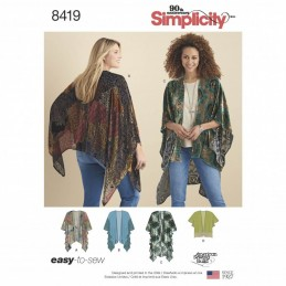Misses Kimono Style Wrap Shrug Jacket Cover Up Simplicity Sewing Pattern 8419