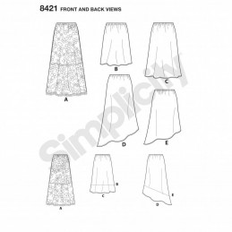 Misses Easy to Sew Pull on Skirts with Variations Simplicity Sewing Pattern 8421