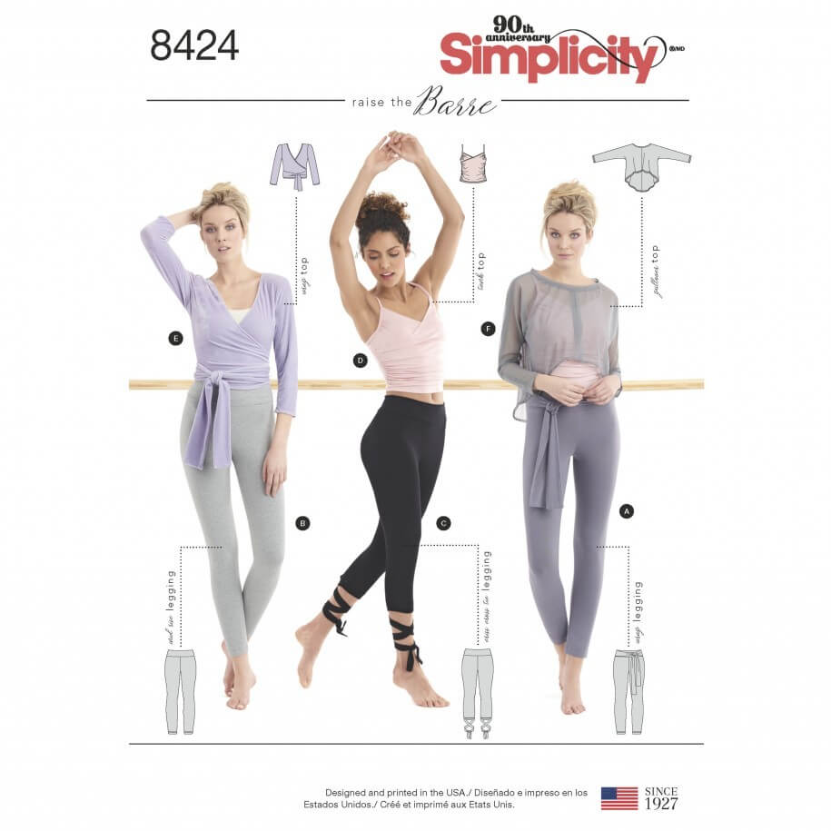 Misses Knit Ballet Style Workout Separates Simplicity Sewing Pattern 8424