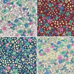 Pretty Pastel Posy Flowers Tumbling 100% Cotton Poplin Fabric (Fabric Freedom)