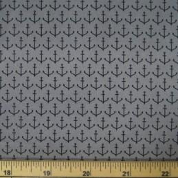 Tiny Nautical Anchors In Rows 100% Cotton Poplin Fabric (Fabric Freedom)