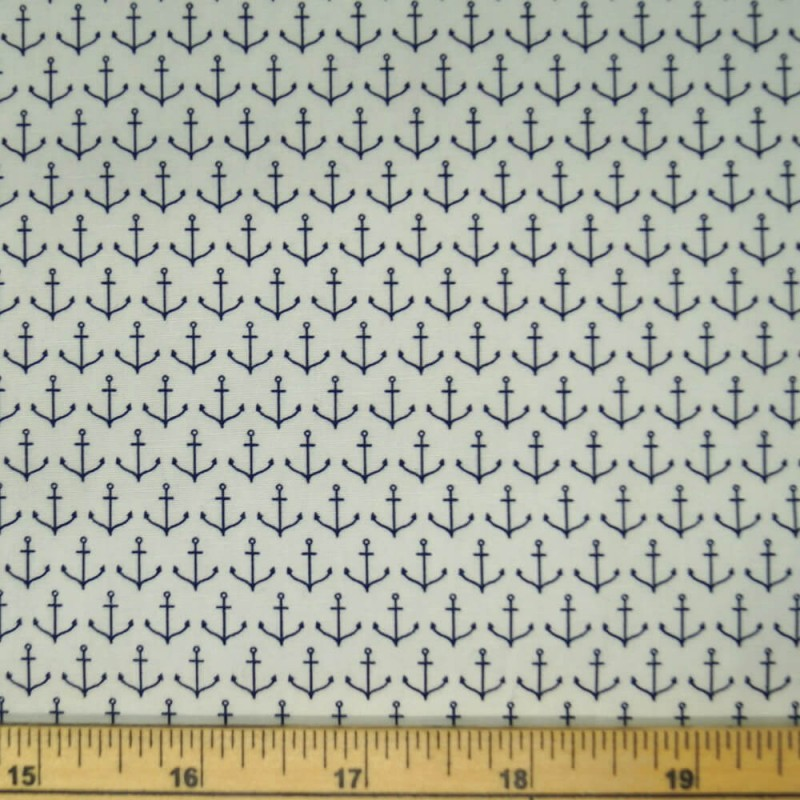 Tiny Nautical Anchors In Rows 100% Cotton Poplin Fabric (Fabric Freedom)