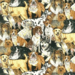 100% Cotton Fabric Nutex Doggie Delight Bunched Dog Breeds Animal