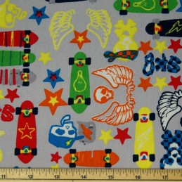 Cool Punk Style Skateboards & Skulls 100% Cotton Fabric 135cm Wide