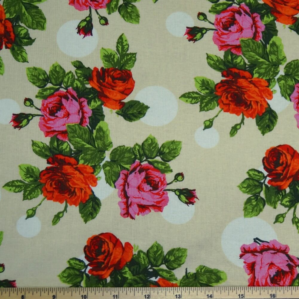 Large Roses Blooming On Polka Dot Spots Floral 100% Cotton Fabric 135cm Wide