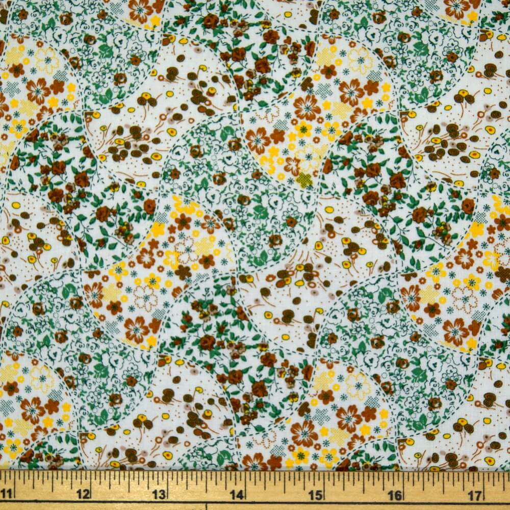 Winter To Spring Floral Flower Gardens Print 100% Cotton Fabric