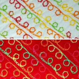 Multi Coloured Diagonal Embroidered Swirls 100% Cotton Fabric 140cm Wide