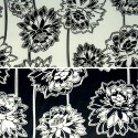 Black & White Lotus Print Cotton Polyester Stretch Sateen Fabric 145cm Wide