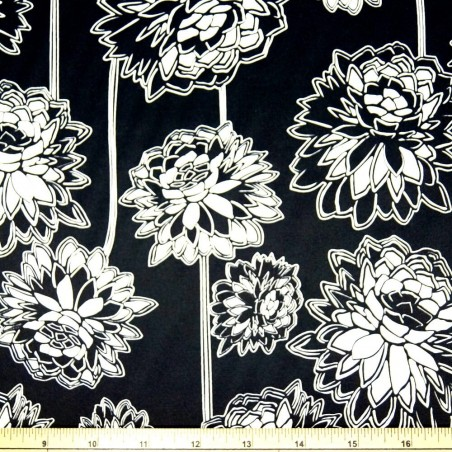 Black /& White Lotus Print Cotton Polyester Stretch Sateen Fabric 145cm Wide