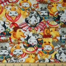 Bustling Dressed Up Cows & Bulls Farm Life 100% Cotton Poplin Fabric 140cm Wide