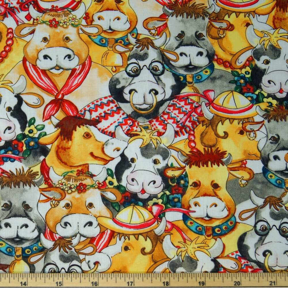 Bustling Dressed Up Cows & Bulls Farm Life 100% Cotton Poplin Fabric 140cm Wide