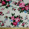 Large Bunches Of Blooming Roses Floral Polycotton Canvas Upholstery Fabric