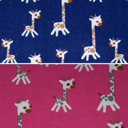 Cartoon Style Giraffes Tossed Wildlife Polycotton Canvas Upholstery Fabric