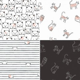 Dear Stella Feline Myself Cheeky Cats Collection 100% Cotton Patchwork Fabric