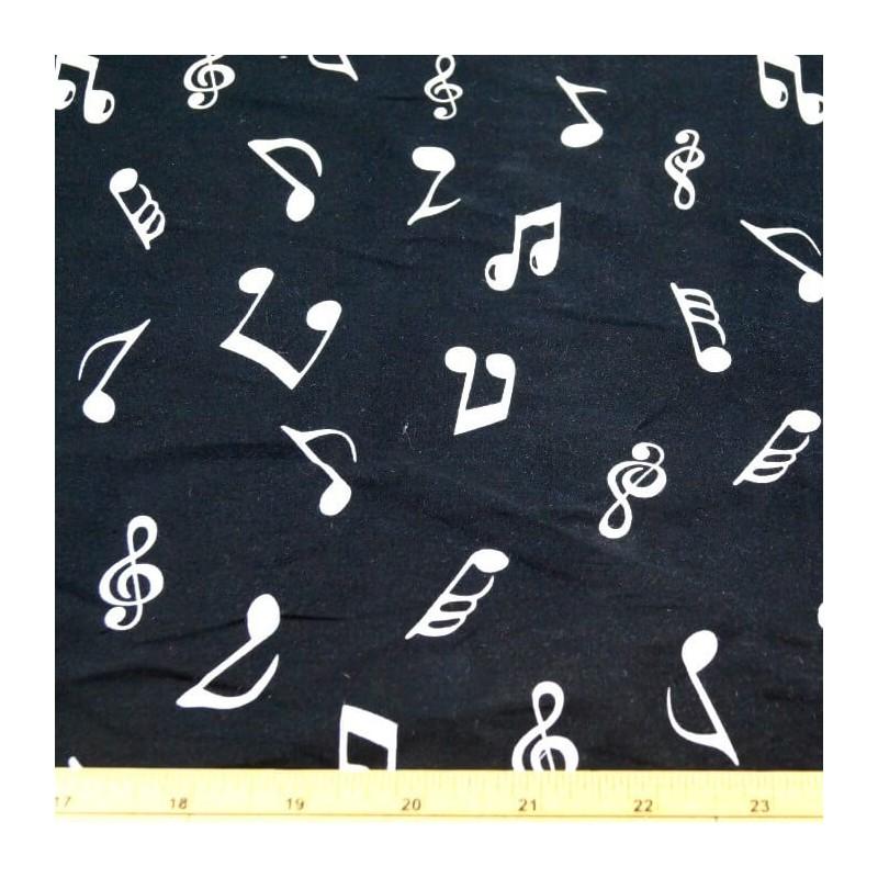 White On Black 100% Cotton Poplin Fabric Rose & Hubble Music Notes Symbols