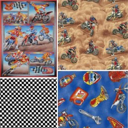 Motocross Dirt Bike Racing Collection 100% Cotton Patchwork Fabric (Nutex)