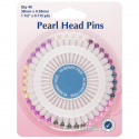 H669 - Assorted Pearl Heads Pins: Nickel - 38mm, 40pcs