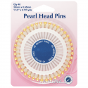 H669.G - Assorted Pearl Heads Pins: Gold - 38mm, 40pcs