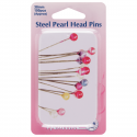 H669.PT - Steel Pearl Head Pins in Tin: Nickel - 38mm, 100pcs