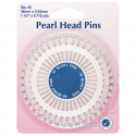 H669.S - Assorted Pearl Heads Pins: Silver - 38mm, 40pcs
