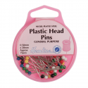H678 - Plastic Coloured Headed Pins: Nickel: 0.58 x 38mm: 75pcs