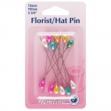 H711.AC - Multi-Coloured Florist/Hat Pins: 70mm, 12pcs