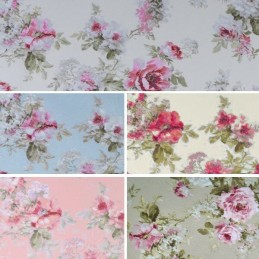 Country Meadow Rose Bush Floral Flowers 100% Cotton Linen Fabric