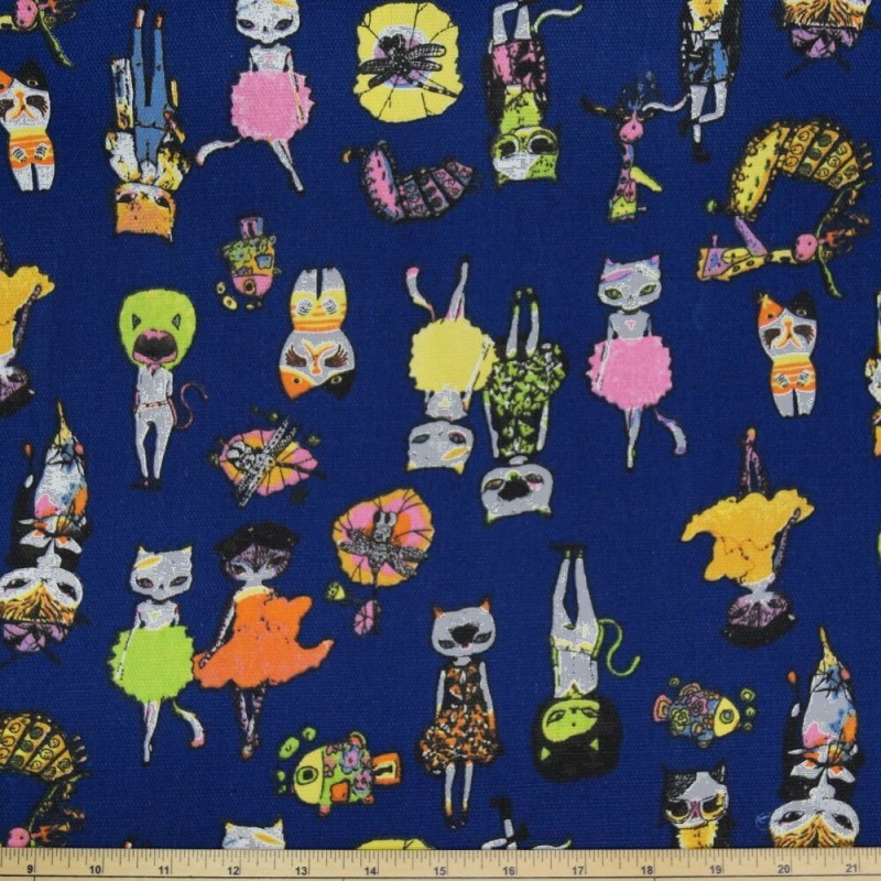 Dressed To The Nines Cats Fancy Dress Kitty Polycotton Canvas Upholstery Fabric
