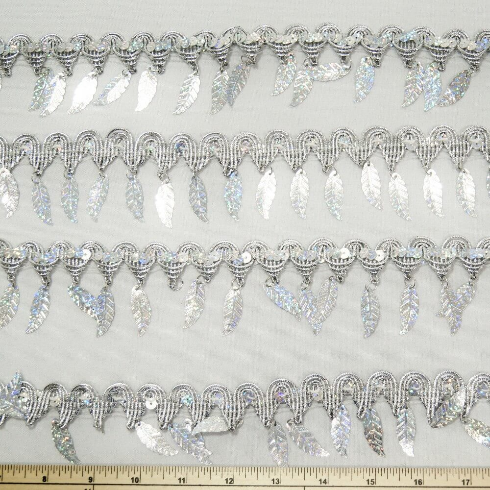 1 Metre Shiny Metallic Sequin Dangling Leaves Craft Trim Acessories