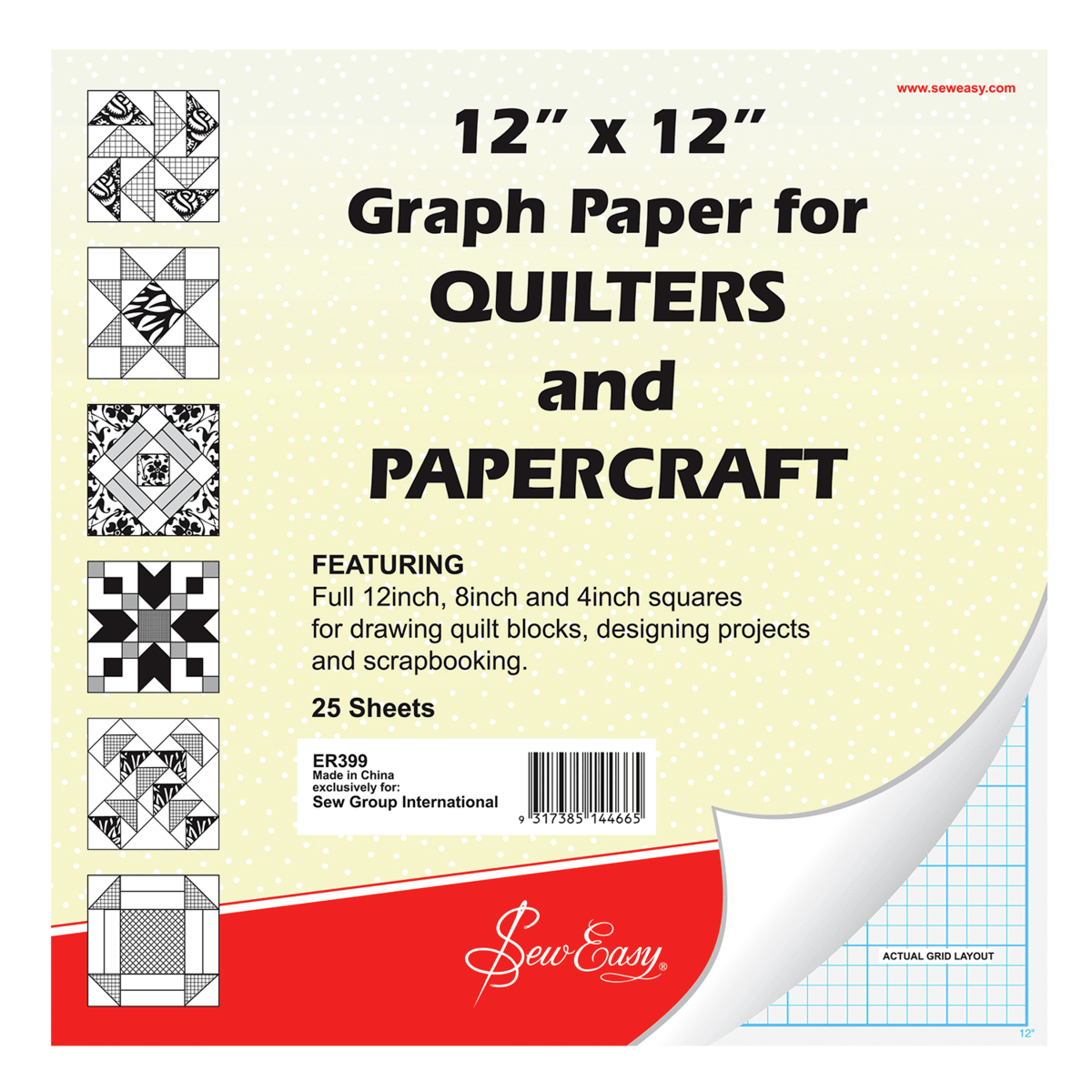 "Sew Easy 25 x 12"" x 12"" Quilters Graph Paper Quilting Paper craft"
