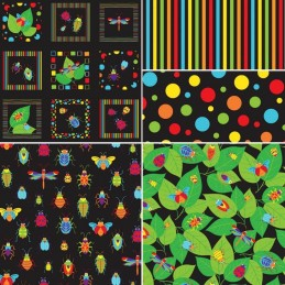100% Cotton Patchwork Fabric Nutex Bugs & Critters Creepy Crawlies Collection