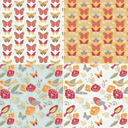 Fly Collection Butterflies Birds & Beautiful Floral 100% Cotton Patchwork Fabric
