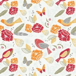 101 White Butterflies & Birds Floral