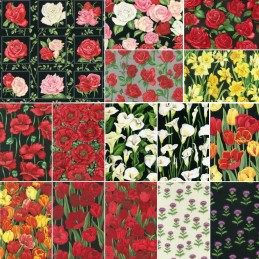 100% Cotton Patchwork Fabric Bouquet Floral Flower Roses Poppies Lily