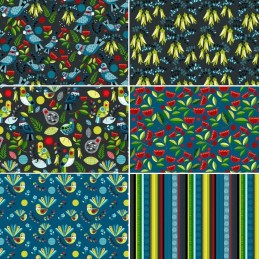 Nutex Forest Song Birds and Flowers Collection 100% Cotton Patchwork Fabric