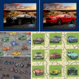 100% Cotton Fabric Nutex Classic Vehicles Cars and Bikes Collections