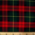 Tartan Plaid Check Polyviscose Fabric 150cm Wide, 190 gsm All Ranges 02 Red & Green With Yellow Line