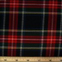 Tartan Plaid Check Polyviscose Fabric 150cm Wide, 190 gsm All Ranges 07 Yellow White & Blue Line On Red & Green