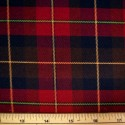 Tartan Plaid Check Polyviscose Fabric 150cm Wide, 190 gsm All Ranges 17 Gold & Green Line On Red & Brown