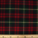 Tartan Plaid Check Polyviscose Fabric 150cm Wide, 190 gsm All Ranges 23 Red & Yellow Line On Green