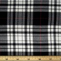 Tartan Plaid Check Polyviscose Fabric 150cm Wide, 190 gsm All Ranges 34 Black & White With Red Line