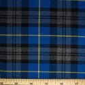 Tartan Plaid Check Polyviscose Fabric 150cm Wide, 190 gsm All Ranges 36 Royal Blue & Grey With Yellow Line