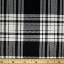 Tartan Plaid Check Polyviscose Fabric 150cm Wide, 190 gsm All Ranges 50 Black & White