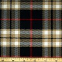 Tartan Plaid Check Polyviscose Fabric 150cm Wide, 190 gsm All Ranges 55 Red & Beige On Black